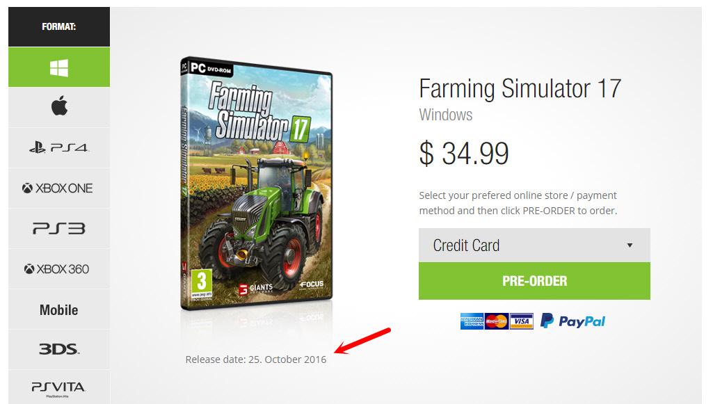 Farming Simulator 2017 на ПК: дата выхода