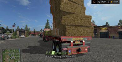 Прицеп для перевозки тюков соломы в игре FS 2017