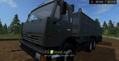 Мод КамАЗа с прицепом для перевозки зерна в игре FS 2017