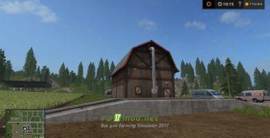 Большое хранилище для зерна в игре Farming Simulator 2017