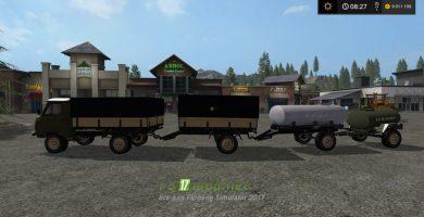 Мод грузовика УАЗ с прицепом и цистерной