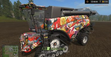 Мод на NEW HOLLAND CR 1090 STICKERBOMB для игры Farming Simulator 2017
