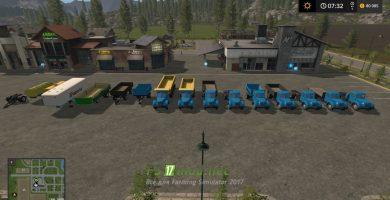 Мод на Грузовики и прицепы МАЗ и ЯАЗ 200 SERIES для Farming Simulator 2017