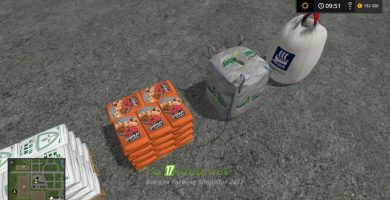 Мод bags pack fertilizer, seed, pig food