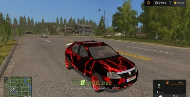 Мод на Dacia Logan Red Electric для игры FS 2017
