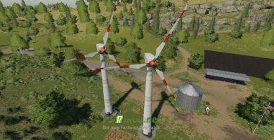 Mод на Placeable Wind Turbine Revenue Generator для игры Фермер Симулятор 2019