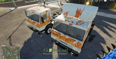 Модификация на КАМАЗ 53212 «Огонь» с полуприцепом для игры Farming Simulator 2019